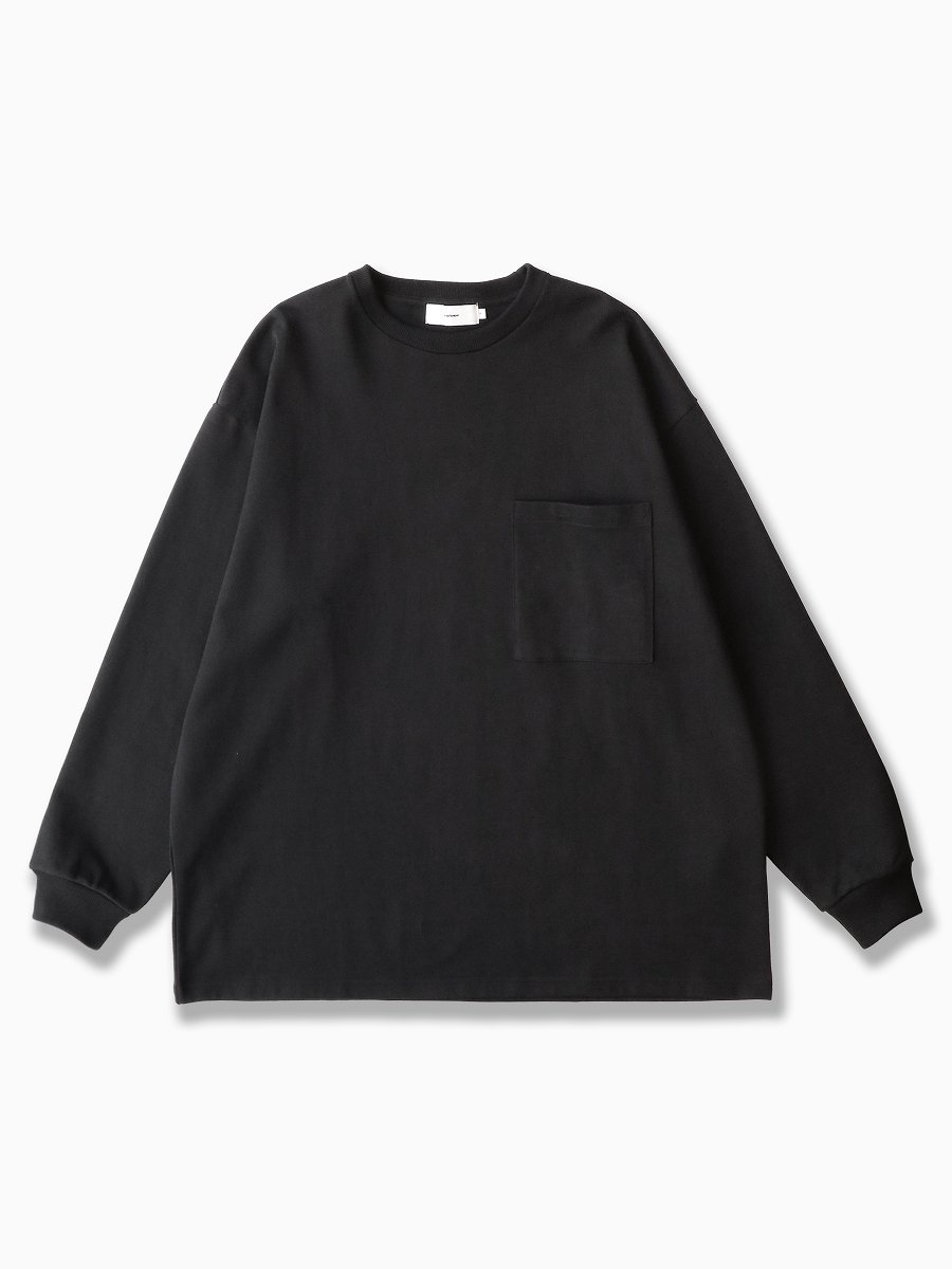 BRAND : Graphpaper<br>MODEL : HEAVY WEIGHT L/S OVERSIZED TEE<br>COLOR : BLACK