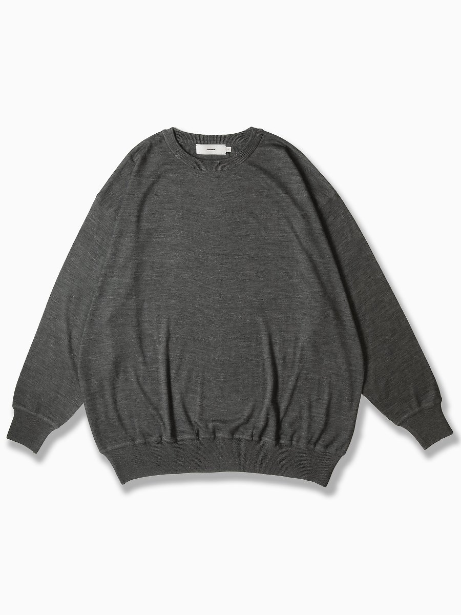BRAND : Graphpaper<br>MODEL : WASHABLE WOOL BIG CREW NECK TEE<br>COLOR : GRAY
