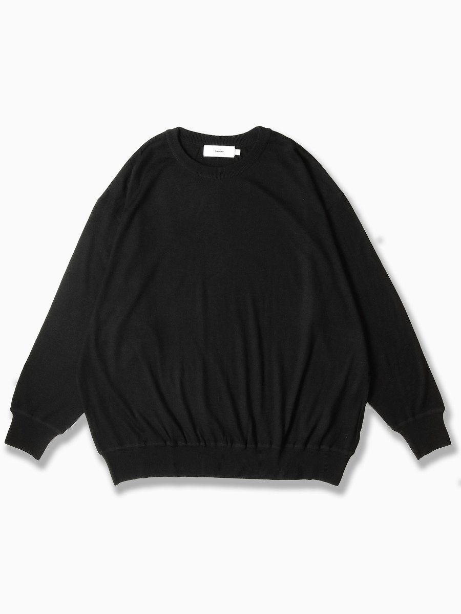 BRAND : Graphpaper<br>MODEL : WASHABLE WOOL BIG CREW NECK TEE<br>COLOR : BLACK