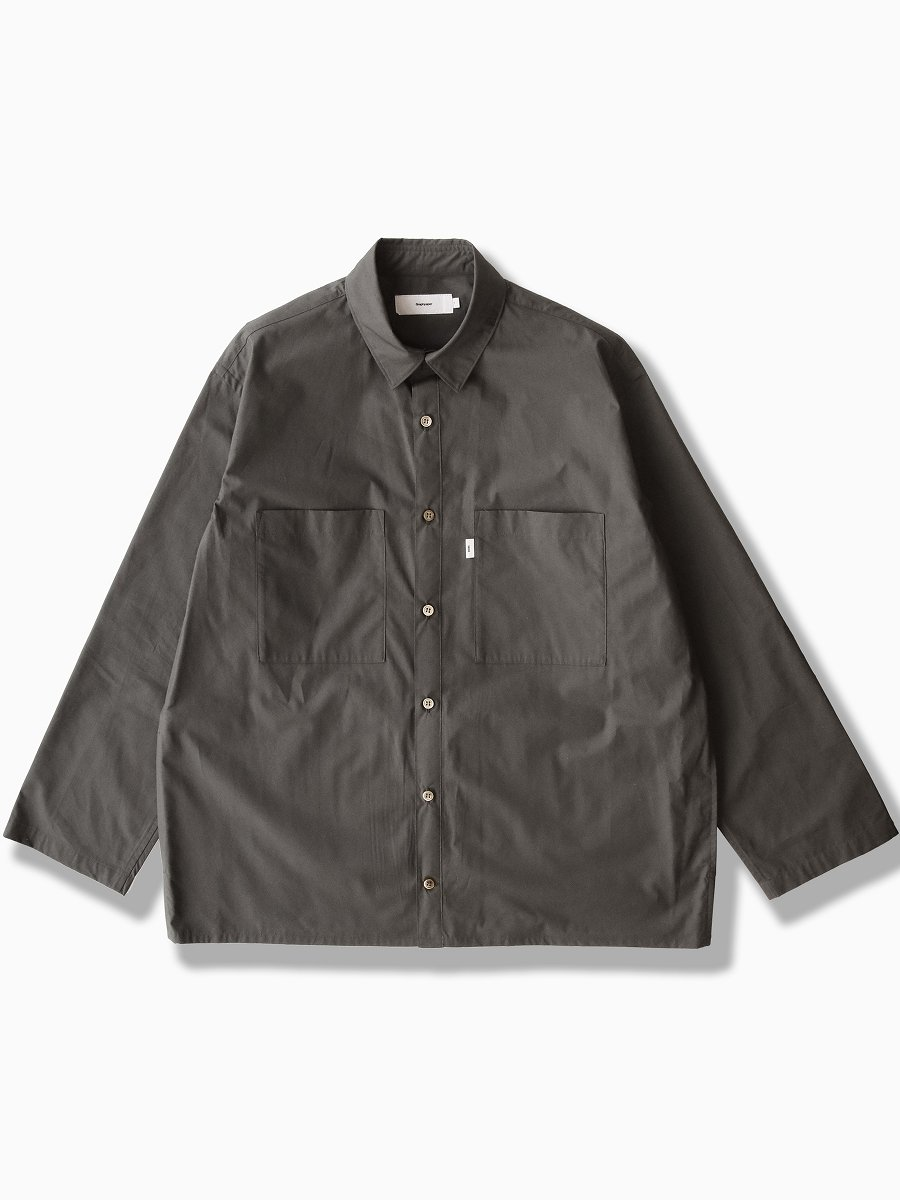 BRAND : Graphpaper<br>MODEL : STRETCH TYPEWRITER L/S BOX SHIRT<br>COLOR : GRAY