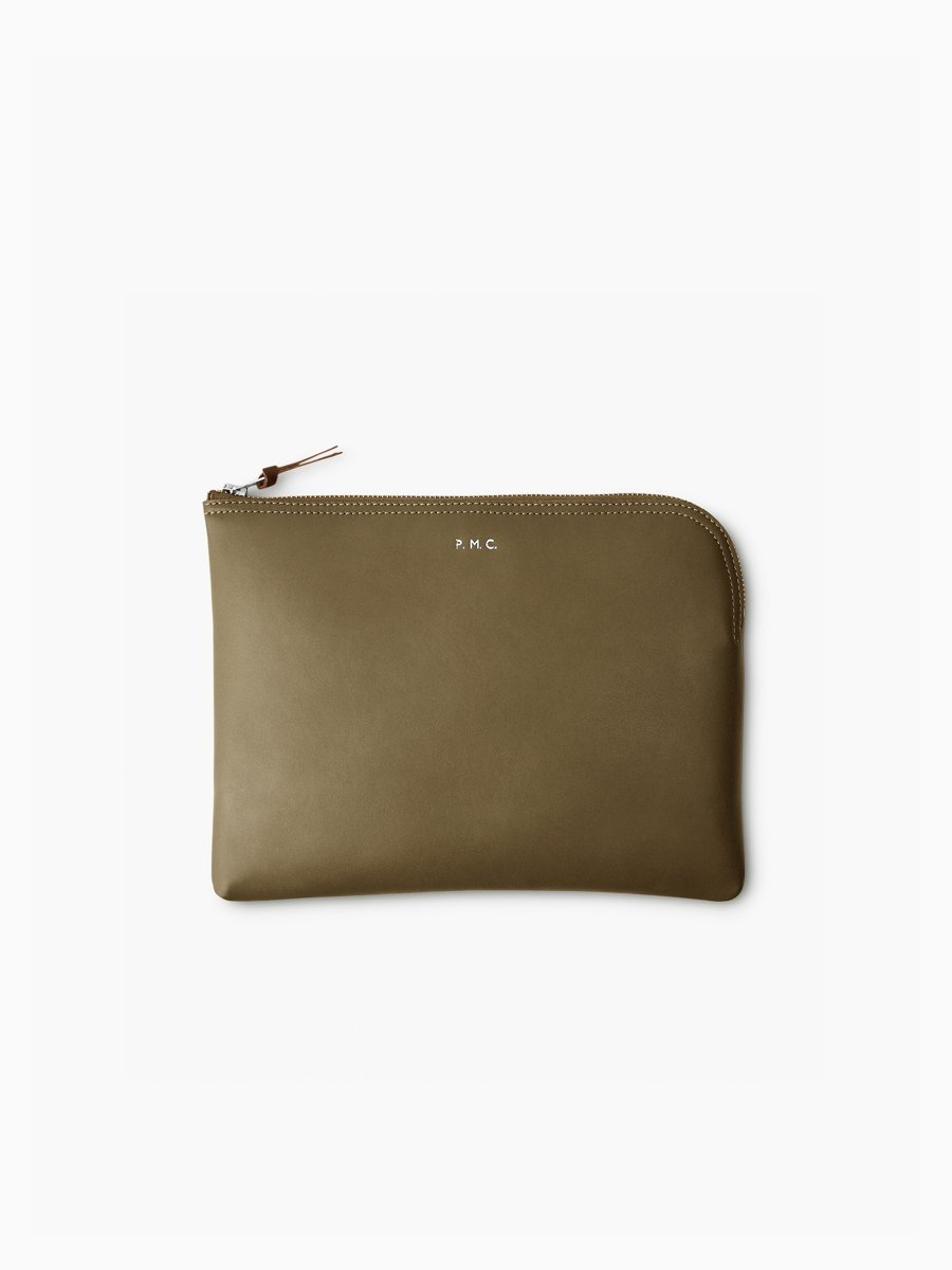 BRAND : PHIGVEL<br>MODEL : LEATHER PURSE L<br>COLOR : G.OLIVE