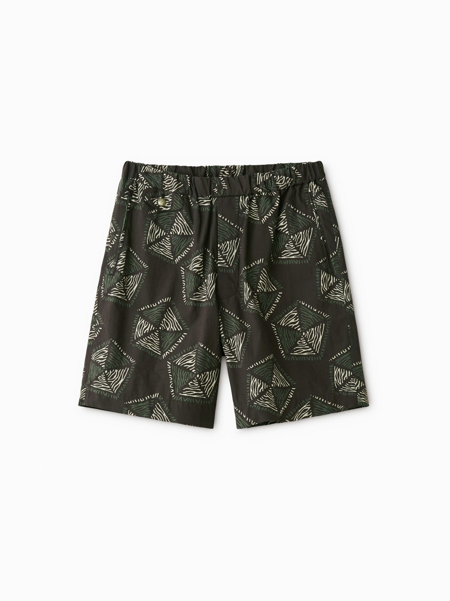 BRAND : PHIGVEL<br>MODEL : AFRICAN PATTERN EASY SHORTS<br>COLOR : PURPLE BROWN