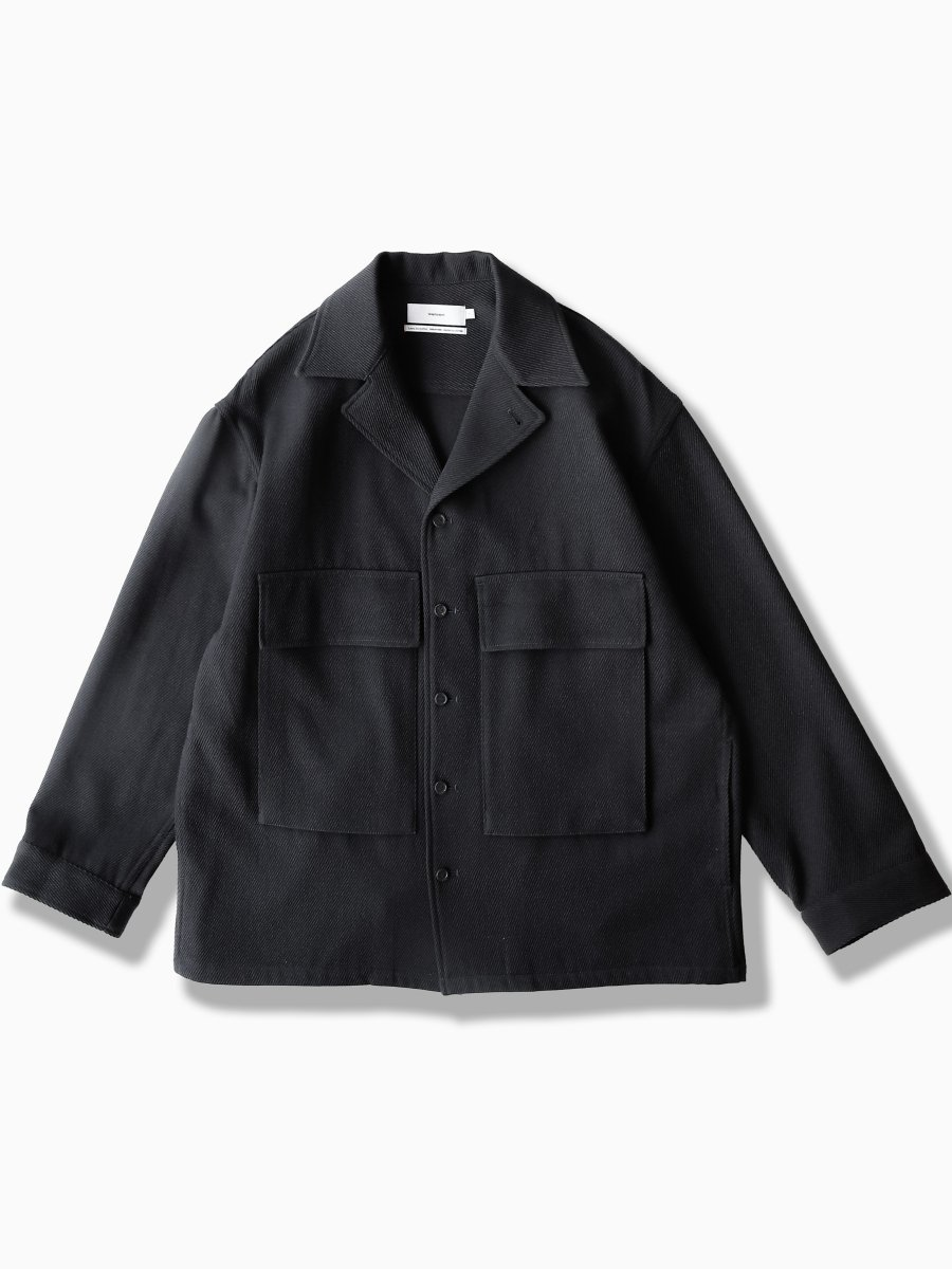 BRAND : Graphpaper<br>MODEL : WOOL KERSEY FATIGUE SHIRT<br>COLOR : BLACK