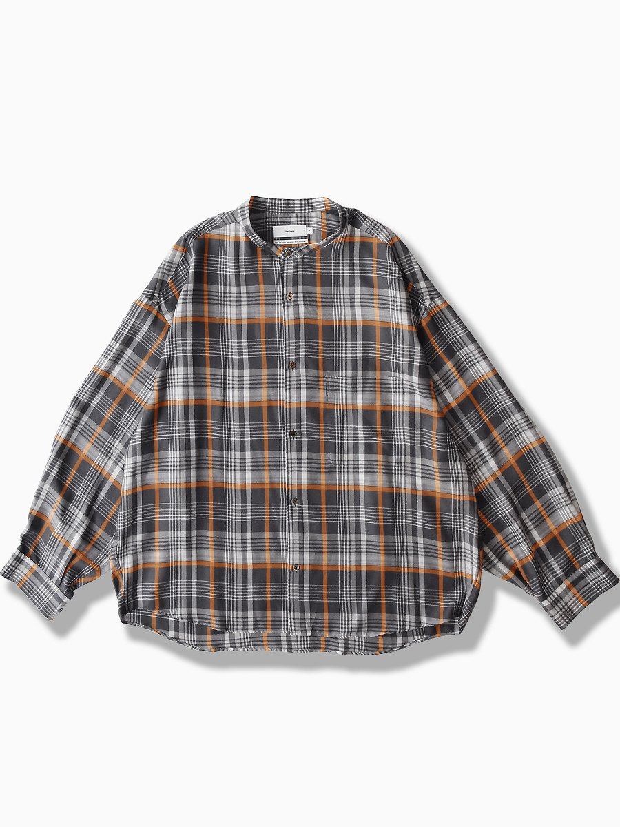BRAND : Graphpaper<br>MODEL : TENCEL CHECK BAND COLLAR BIG SLEEVE SHIRT<br>COLOR : GRAY×ORANGE