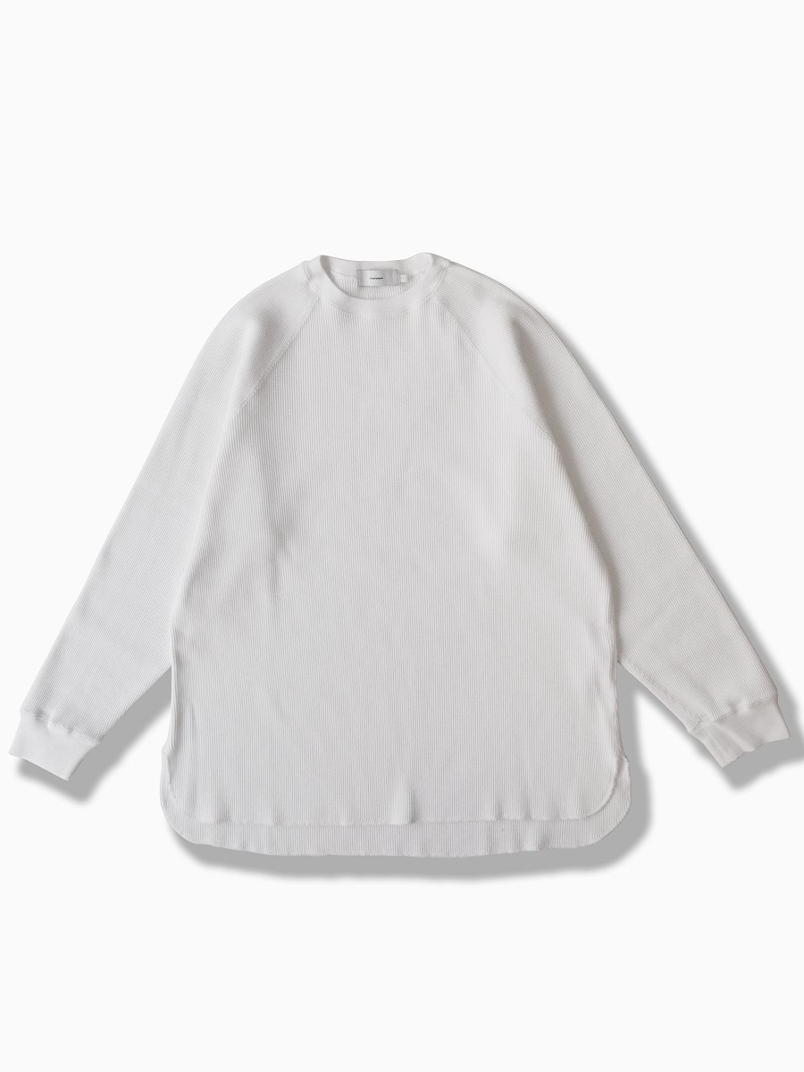 BRAND : Graphpaper<br>MODEL : WAFFLE L/S TEE<br>COLOR : WHITE