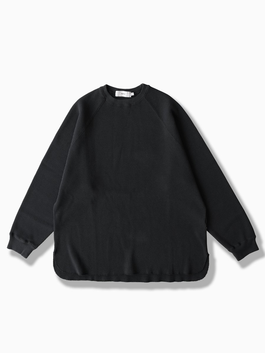 BRAND : Graphpaper<br>MODEL : WAFFLE L/S TEE<br>COLOR : BLACK