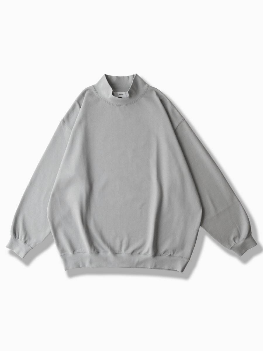 BRAND : Graphpaper<br>MODEL : HEAVEY WEIGHT MOCK NECK HEM RIB TEE<br>COLOR : L.GRAY