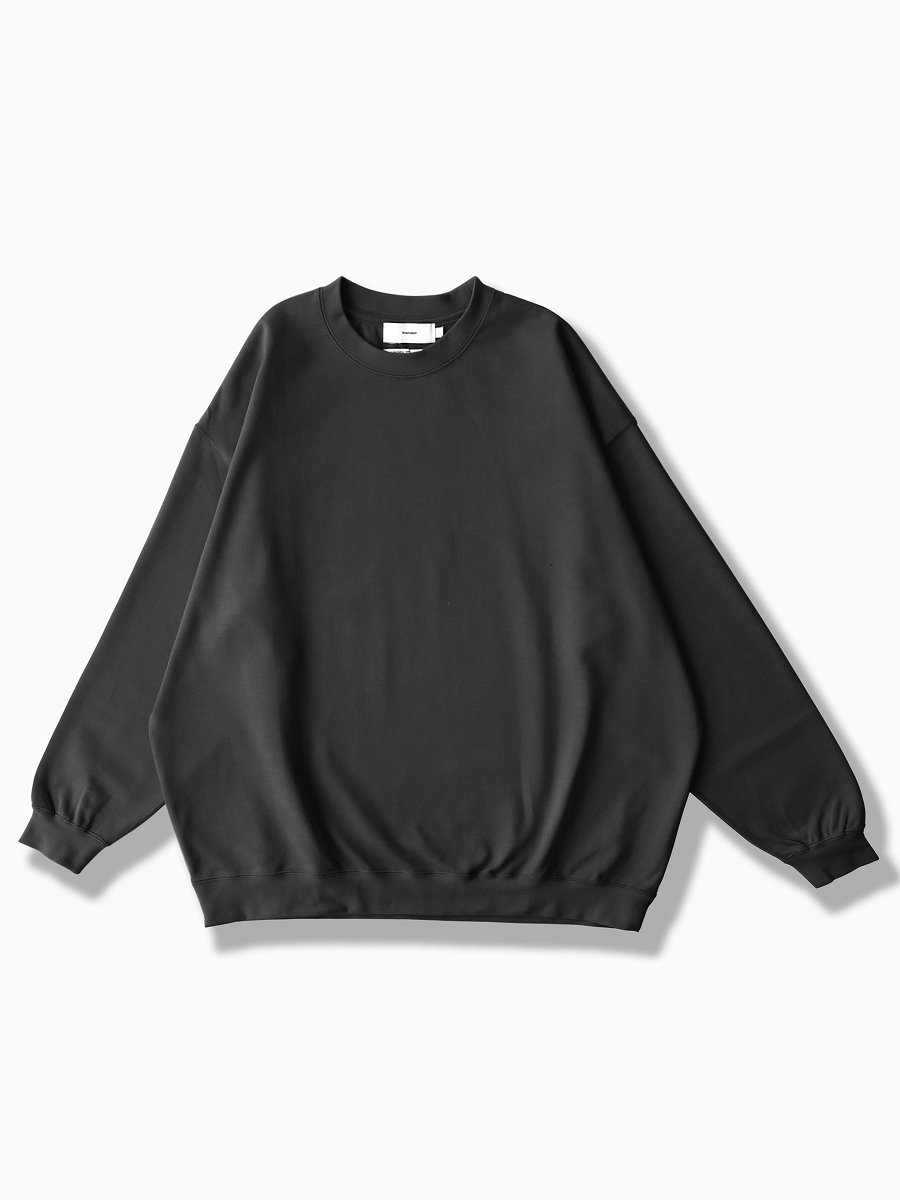 BRAND : Graphpaper<br>MODEL : HEAVEY WEIGHT CREW NECK HEM RIB TEE<br>COLOR : BLACK