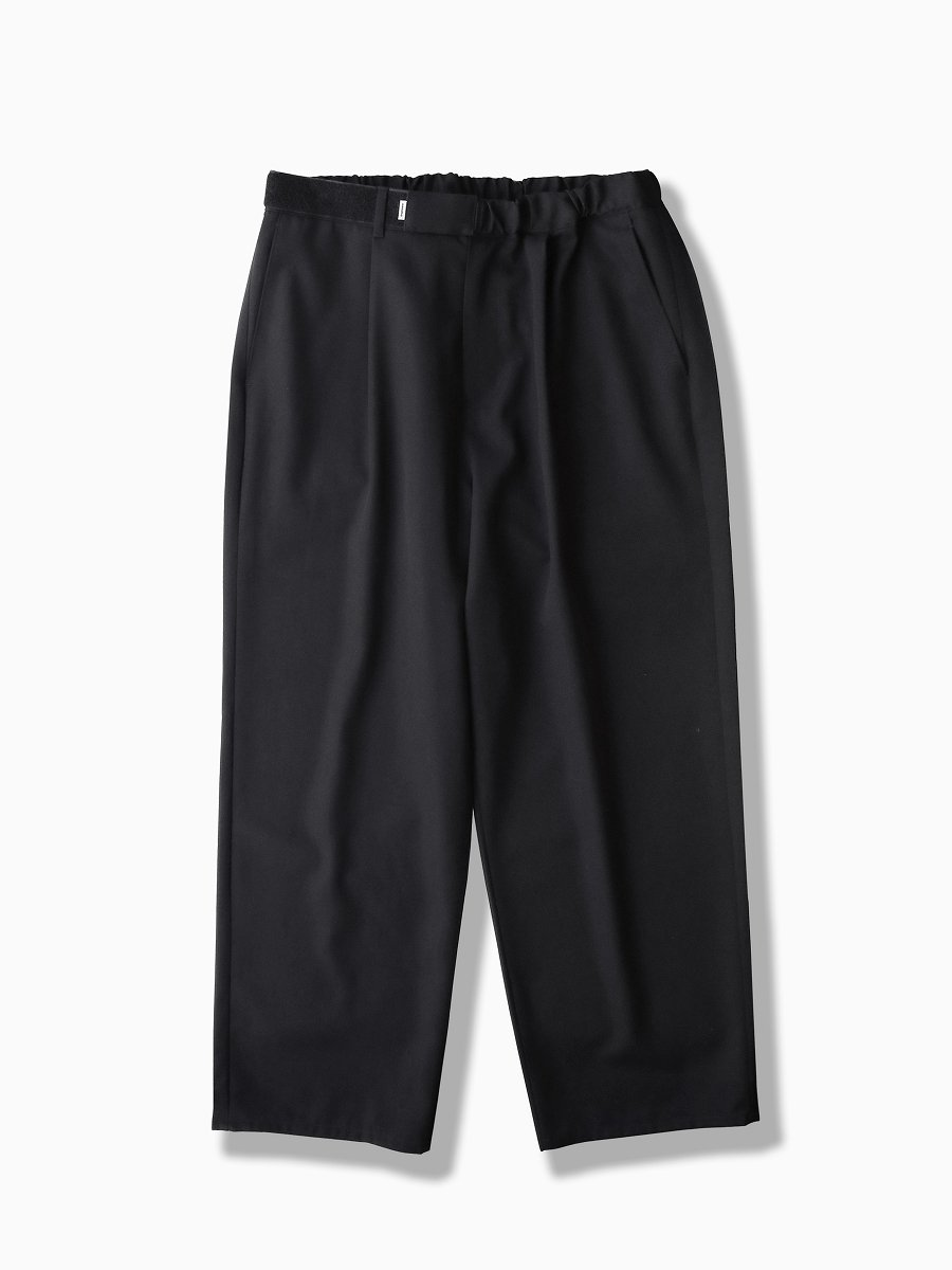 BRAND : Graphpaper<br>MODEL : SELVAGE WOOL WIDE CHEF PANTS<br>COLOR : BLACK