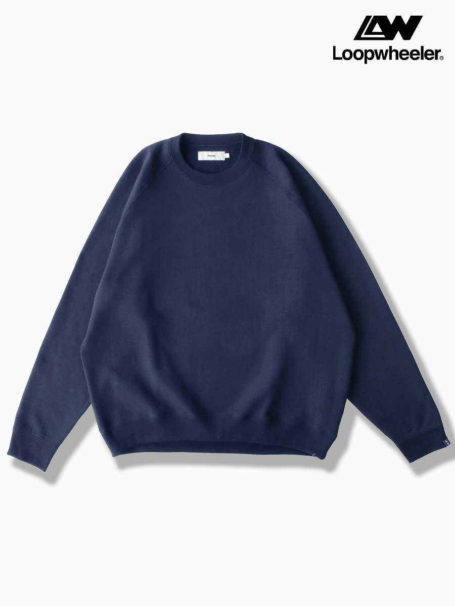 BRAND : Graphpaper<br>CONNECTED : LOOPWHEELER<br>MODEL : RAGLAN SWEAT<br>COLOR : NAVY
