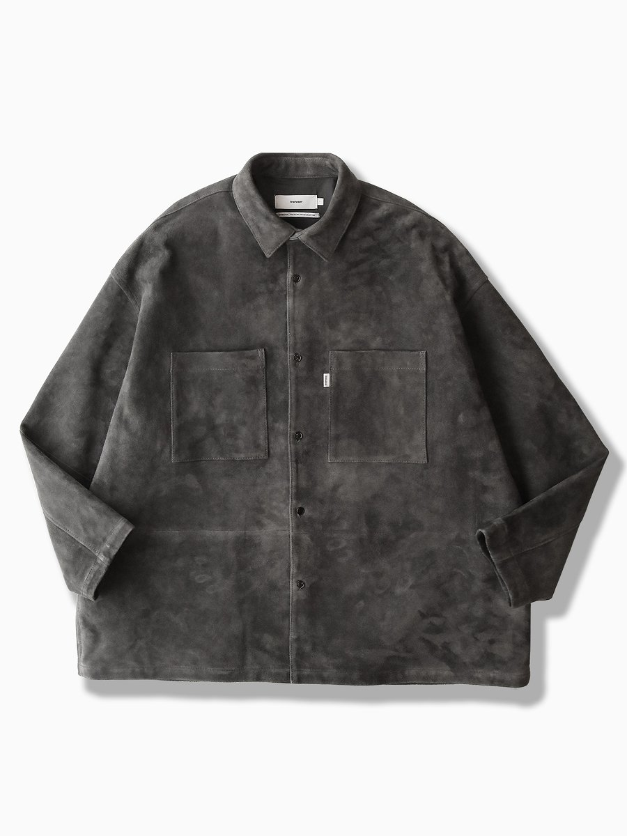 BRAND : Graphpaper<br>MODEL : GOAT SUEDE BOX SHIRT<br>COLOR :  C.GRAY