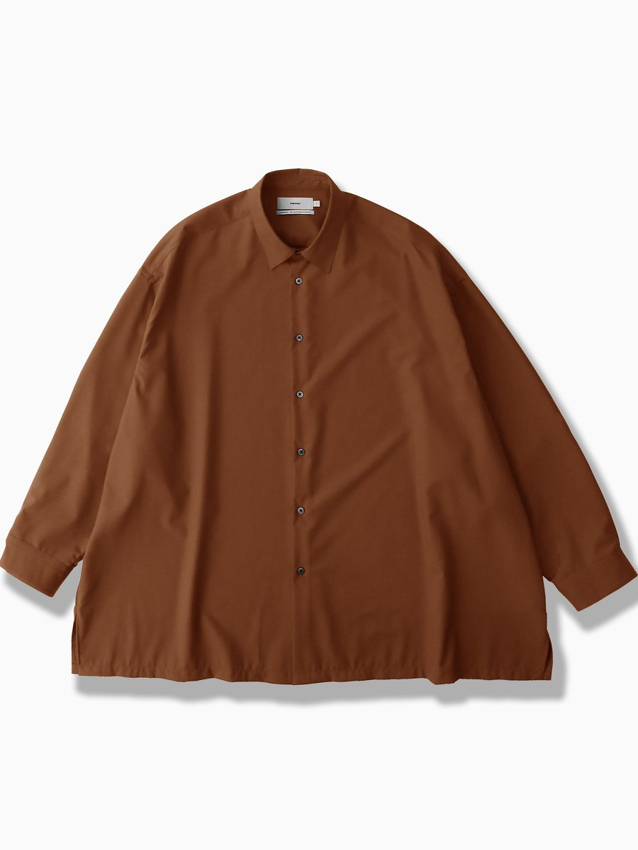 BRAND : Graphpaper<br>MODEL : FINE WOOL TROPICAL OVERSIZED SHIRT<br>COLOR :  BROWN