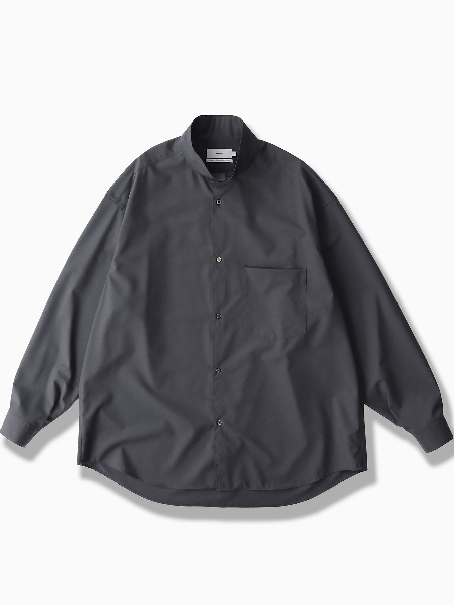 BRAND : Graphpaper<br>MODEL : FINE WOOL STAND COLLAR SHIRT<br>COLOR :  GRAY