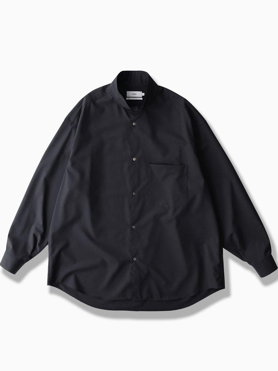 BRAND : Graphpaper<br>MODEL : FINE WOOL STAND COLLAR SHIRT<br>COLOR :  BLACK
