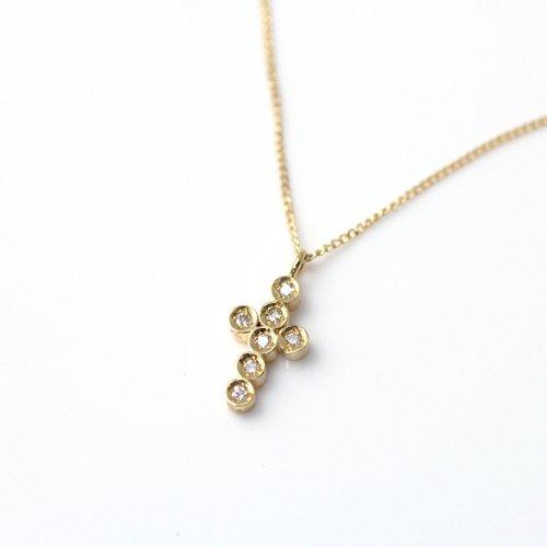 【廃番商品】hirondelle et pepin(イロンデールエペパン) / k18 hn-484-16s クロスモチーフダイヤ ネックレス