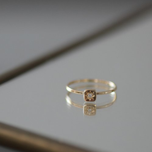 hirondelle et pepin(イロンデールエペパン) / k18 hr-499-16s 星留めダイヤリング 1