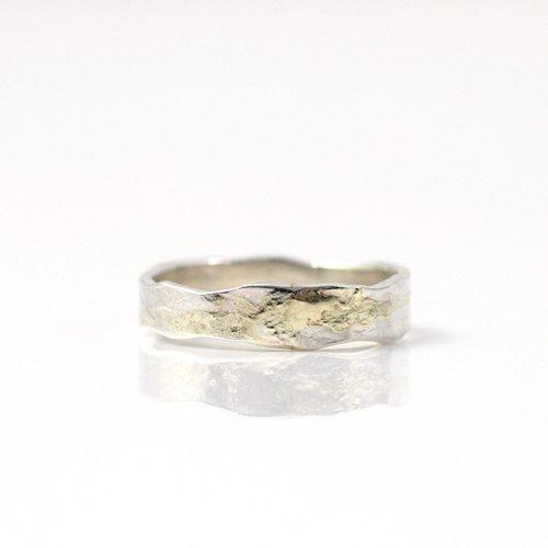 【廃番商品】hirondelle et pepin(イロンデールエペパン) / k18 silver sr-15-16s プレートリング 15 S / wave
