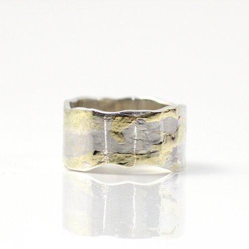 【廃番商品】hirondelle et pepin(イロンデールエペパン) / k18 silver sr-16-16s プレートリング 16 M / wave