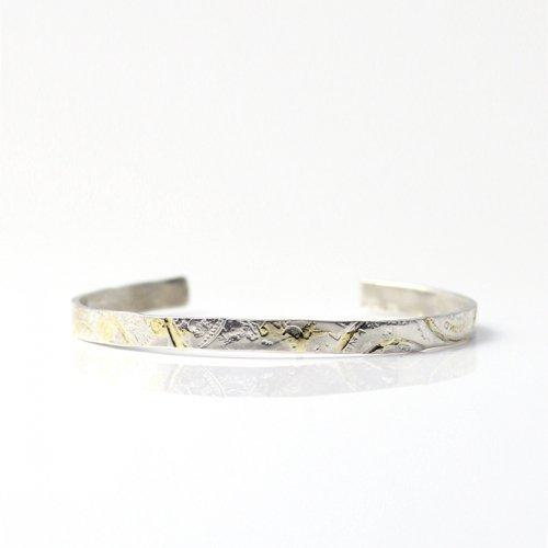 【廃番商品】hirondelle et pepin(イロンデールエペパン) / k18 silver sv-13-16s coinスタンプ プレートバングル 13