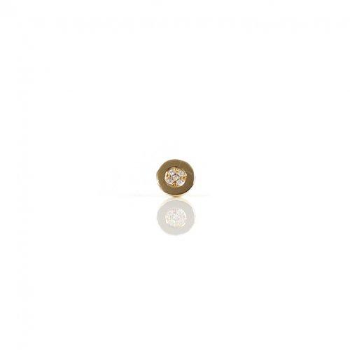 【廃番商品】hirondelle et pepin(イロンデールエペパン) / k18 hp-557-17w ラウンドプレート パヴェダイヤピアス / マル (片耳タイプ)