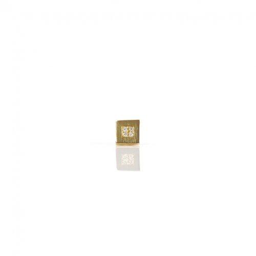 【廃番商品】hirondelle et pepin(イロンデールエペパン) / k18 hp-559-17w スクエアプレート パヴェダイヤピアス / シカク (片耳タイプ)