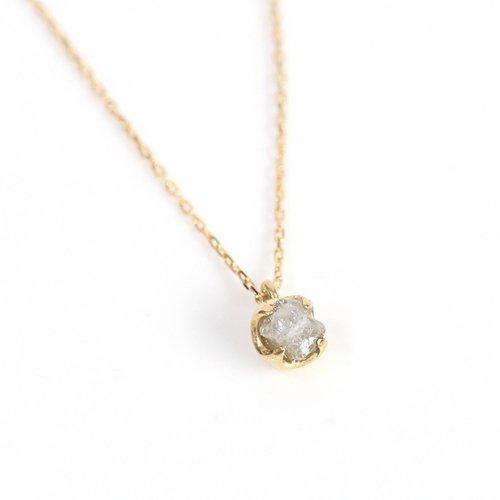 sinc(シンク) / k18 一粒 原石ダイヤモンド ネックレス - グレー