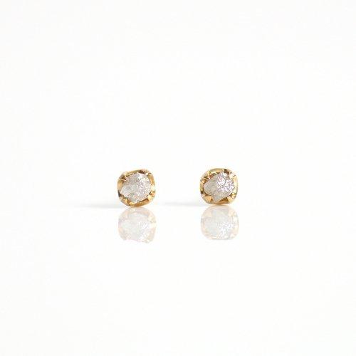 sinc(シンク) / k18 原石ダイヤモンド ピアスM - グレー