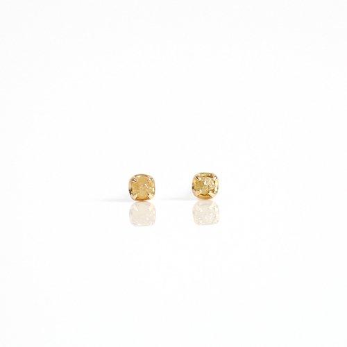 sinc(シンク) / k18 原石ダイヤモンド ピアスS - イエロー