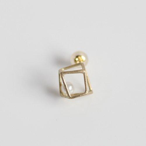 MINIMUMNUTS(ミニマムナッツ) / k14 MN-pic008 ice cube ピアス SS - パール (片耳タイプ)