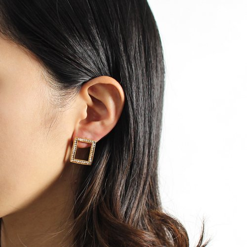revie objects / 旧 Rice revie objects/ 旧 Rice/ SQ2-01 ■pearl earring シカクパールピアス(片方タイプ)