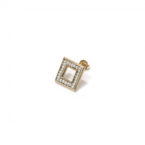 revie objects(レヴィオブジェクツ) / SQ2-02 ■pearl earring mini シカクパールピアス ミニ (片方タイプ)