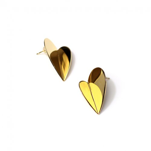 SIRISIRI / RA305 RADEN Earrings Folding Heart 螺鈿ピアス ハート - ゴールド