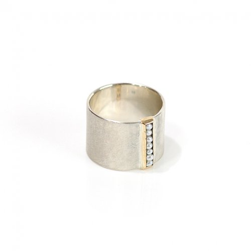 revie objects/ 旧 Rice/ SI1-05〈SIDE〉dotted line ring サイド ドットライン ワイドリング / パール