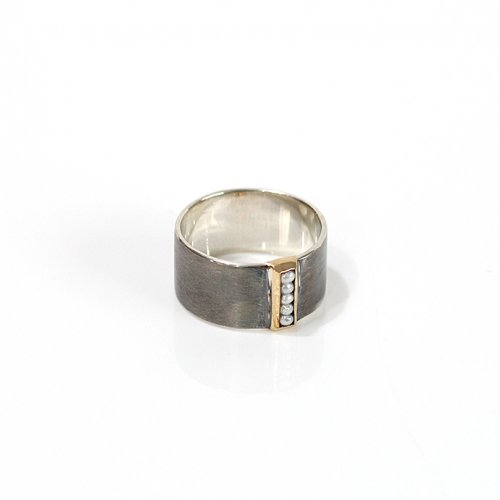 revie objects / 旧 Rice revie objects/ 旧 Rice/ SI1-08〈SIDE〉dotted line ring BLACK-S サイド ドットライン ワイドリング S / ブラック