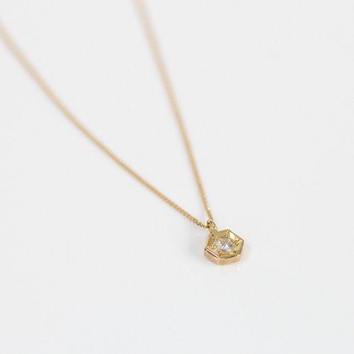 hirondelle et pepin(イロンデールエペパン) / k18 hn-19ss-524 彫り留め ローズカットダイヤ ネックレス 六角形