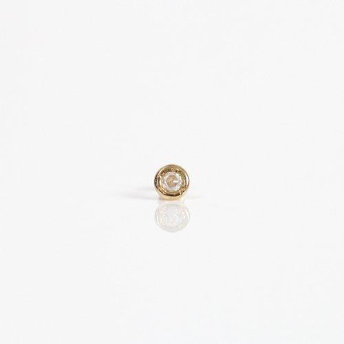 【廃番商品】hirondelle et pepin(イロンデールエペパン) / k18 hp-19ss-611 彫り留め シャトン ローズカットダイヤ ピアス (片耳タイプ)