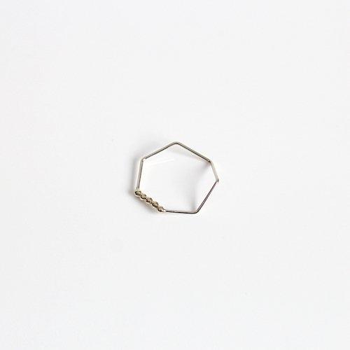 siki(シキ) / silver 七角形とドットのコンビネーションリング / SK-R41-K10YG-SV