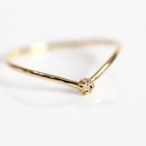 hirondelle et pepin(イロンデールエペパン) / k18 hr-19fw-549 8つ爪ミニダイヤ Vリング