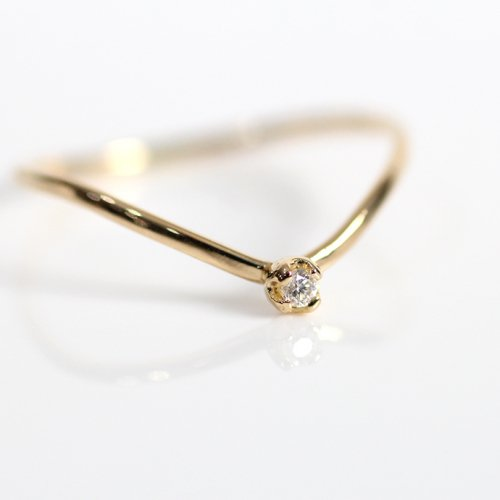 hirondelle et pepin(イロンデールエペパン) / k18 hr-19fw-551 4つ爪ミニダイヤ Vリング