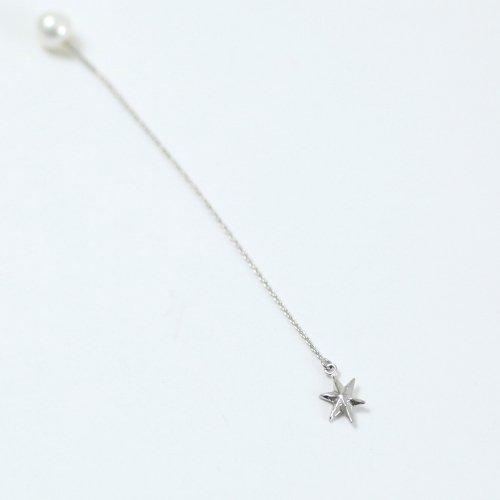 yum. (ヤム) / silver シルバー スター キラキラ チェーン ピアス 1 (片耳タイプ) / P-04c-Ag925