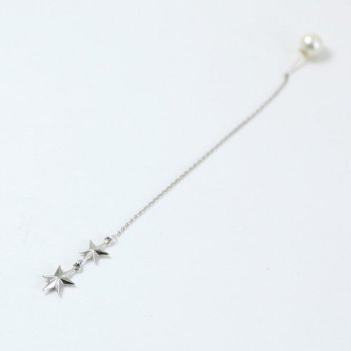 yum. (ヤム) / silver シルバー スター キラキラ チェーン ピアス 2 (片耳タイプ) / P-04b-Ag925
