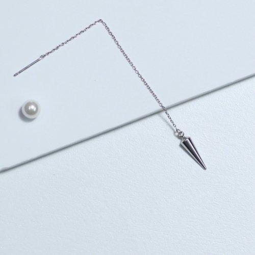 yum. (ヤム) / silver シルバー スタッズチェーン ピアス (片耳タイプ) / P-04d-Ag925