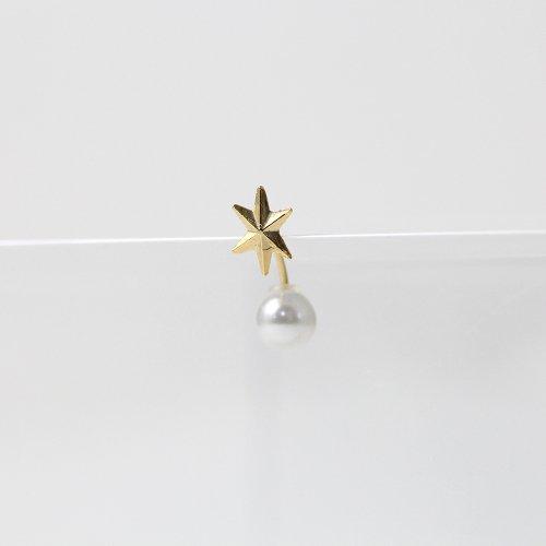 yum. (ヤム) / k18 ゴールド スター キラキラ パールキャッチ ピアス L (片耳タイプ) / P-10a-18c