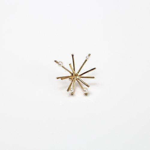 Lamie(ラミエ) / 00127P_パールspaekM_GD / K18GP ゴールド Pearl Spark ピアスM - パール付き (片耳タイプ)