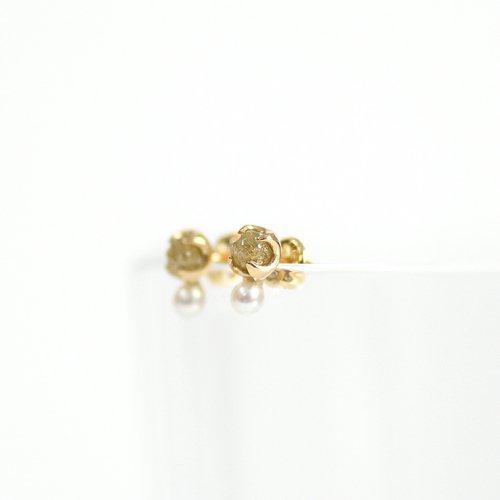 sinc(シンク) / k18 原石ダイヤモンド ピアス - イエロー (パール付き)