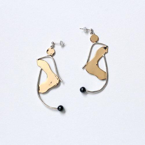 MIKU FUKAMITSU(ミク フカミツ) / とけだす耳飾り ピアス / (シルバー  / silver925 / k18pt / ヘマタイト)