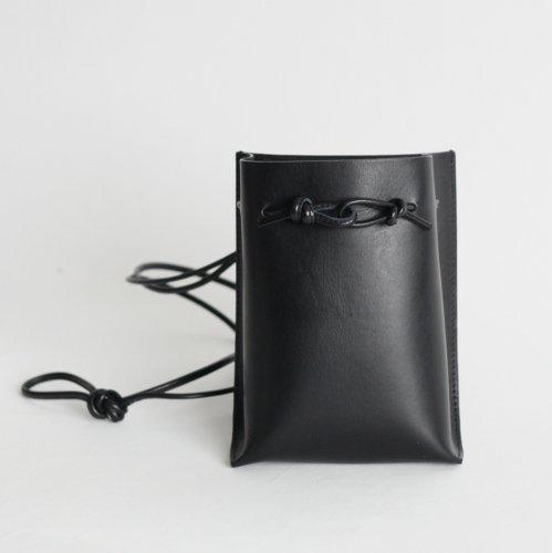 MARROW(マロウ) / MA-AC0103 / STRING POUCH ストラップ付 レザー ポーチ - ブラック