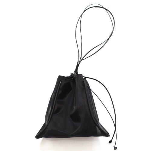 【完売】MARROW(マロウ) / TULLE PILLOW レザー 巾着型ハンドバッグ - ブラック