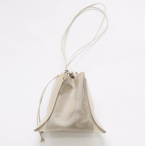 【完売】MARROW(マロウ) / TULLE PILLOW レザー 巾着型ハンドバッグ - ベージュ