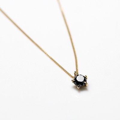 hirondelle et pepin(イロンデールエペパン) / k18 hn-20fw-539 5つ爪ブラックダイヤ ネックレス / ゴールド